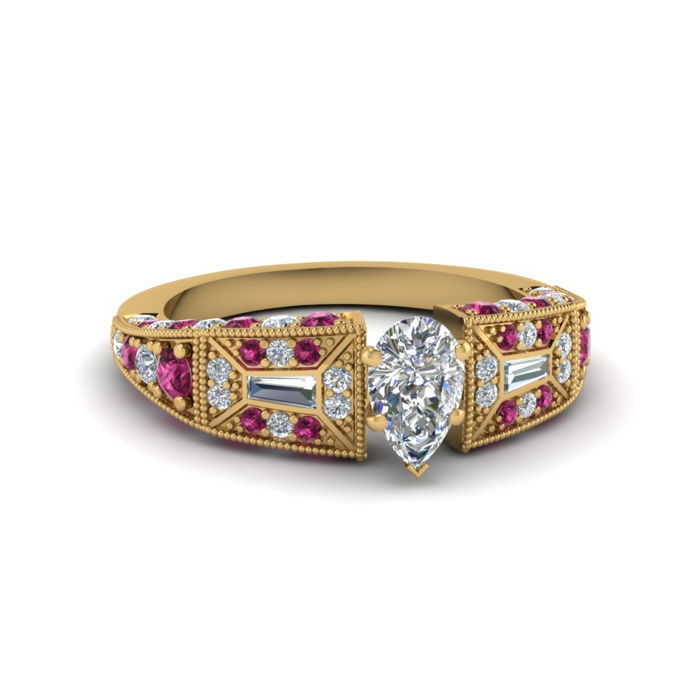 pear shaped victorian vintage style diamond engagement ring with pink sapphire in FDENR8601PERGSADRPI NL YG