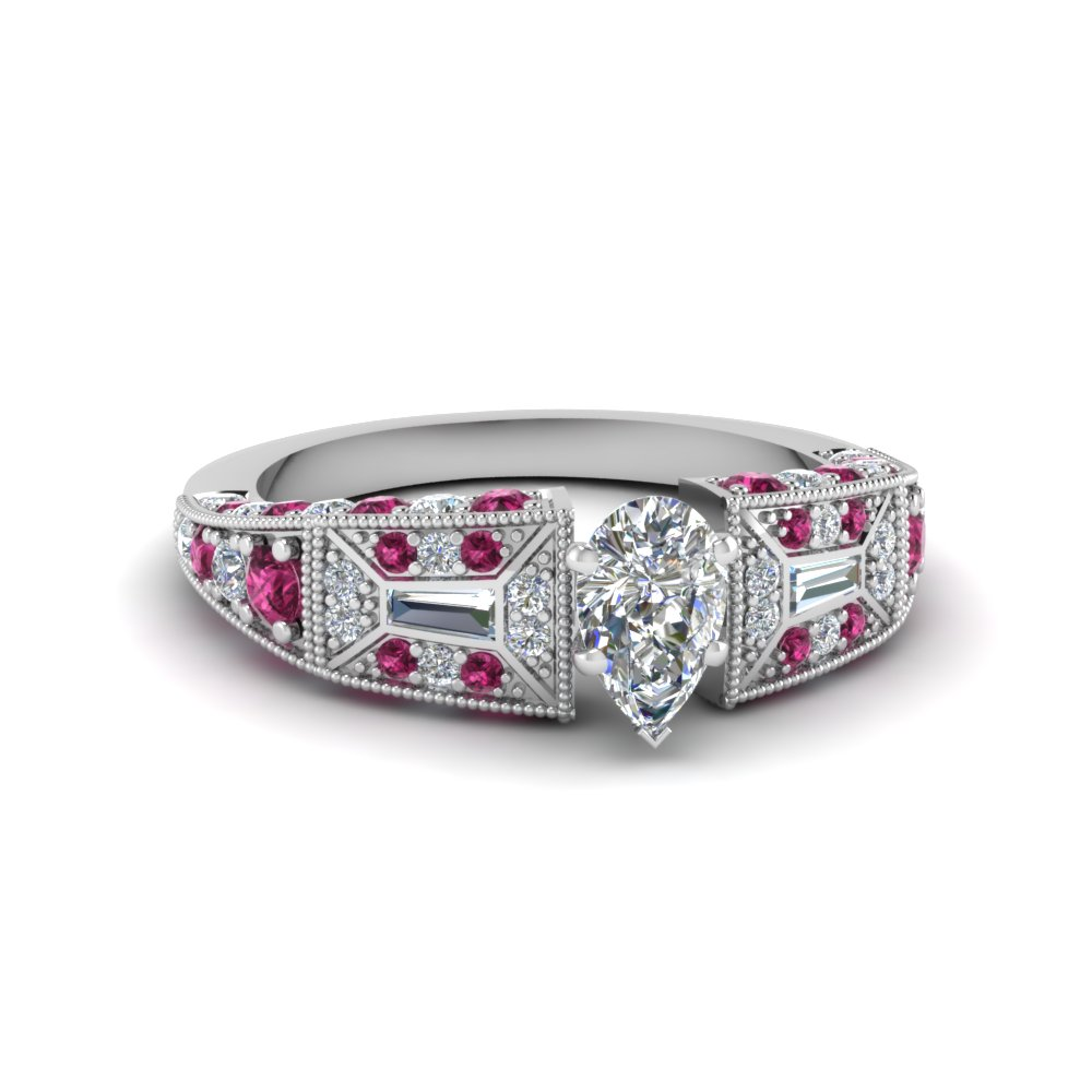pear shaped victorian vintage style diamond engagement ring with pink sapphire in FDENR8601PERGSADRPI NL WG