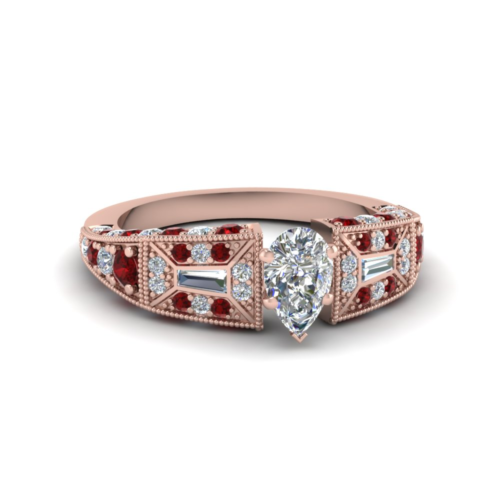 pear shaped victorian vintage style diamond engagement ring with ruby in FDENR8601PERGRUDR NL RG