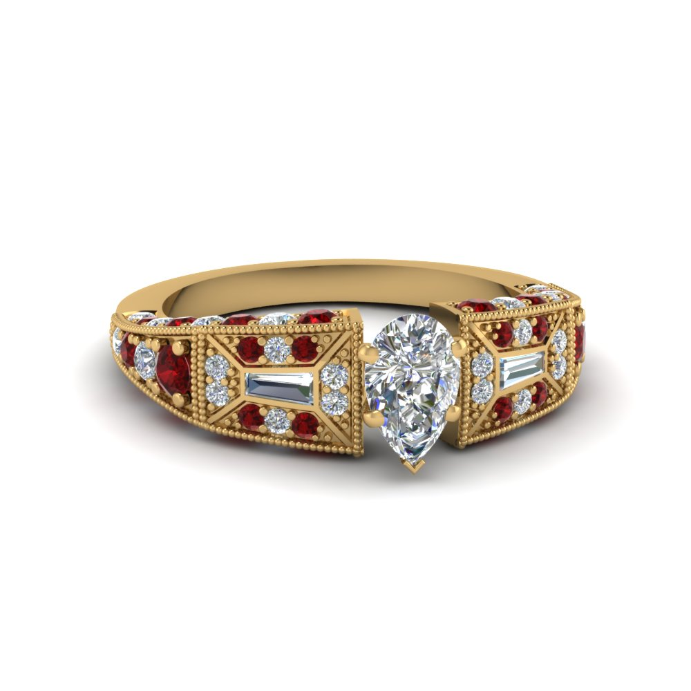 pear shaped victorian vintage style diamond engagement ring with ruby in FDENR8601PERGRUDR NL YG