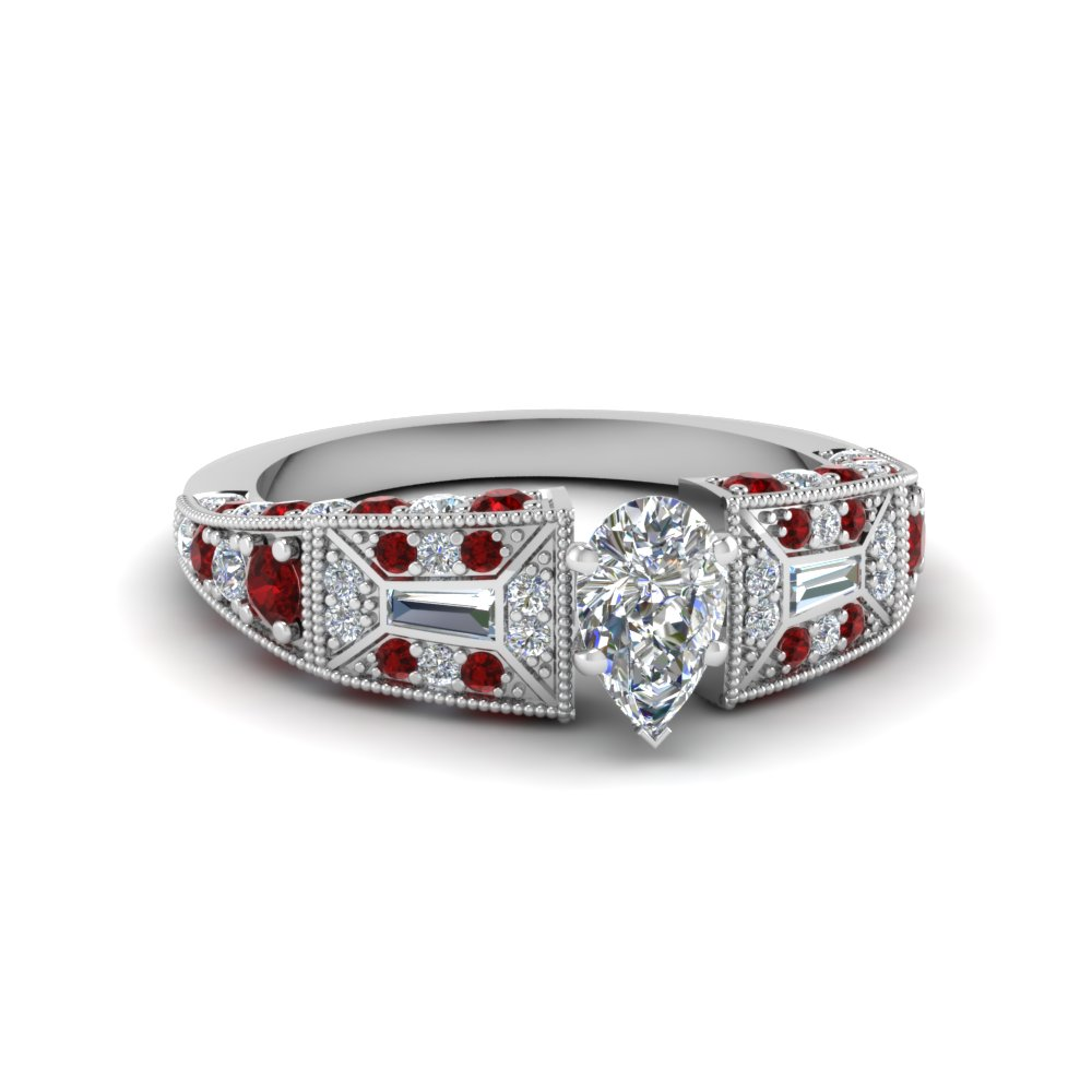 pear shaped victorian vintage style diamond engagement ring with ruby in FDENR8601PERGRUDR NL WG