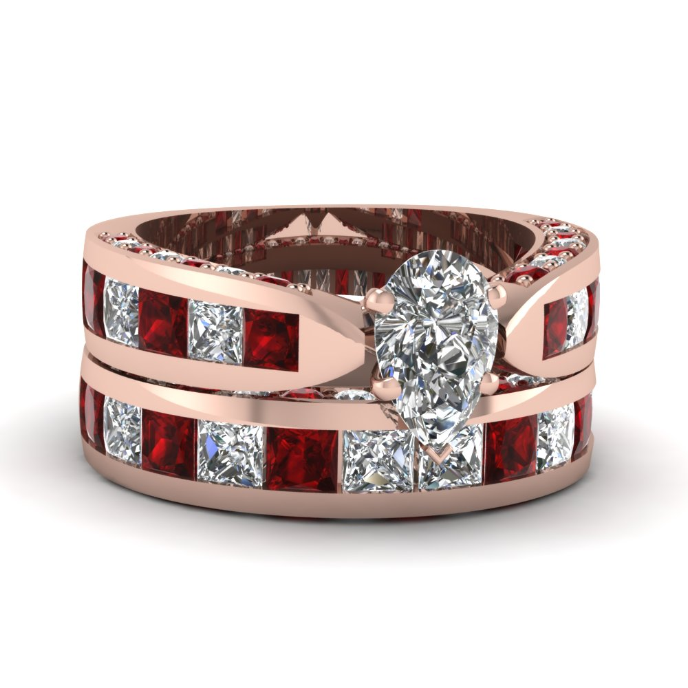 Pear Shaped Ruby Wedding Set