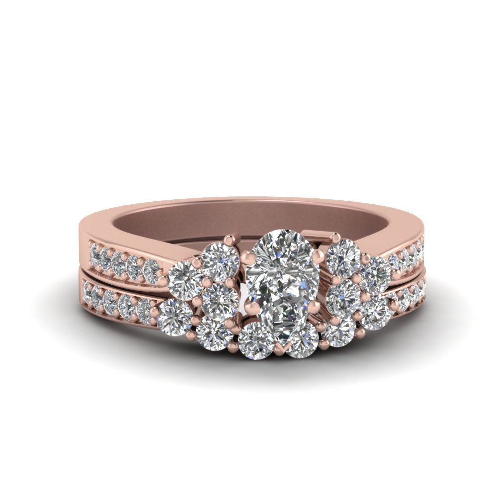 Pear Shaped Pave Cluster Accent Diamond Wedding Set In 14K Rose Gold