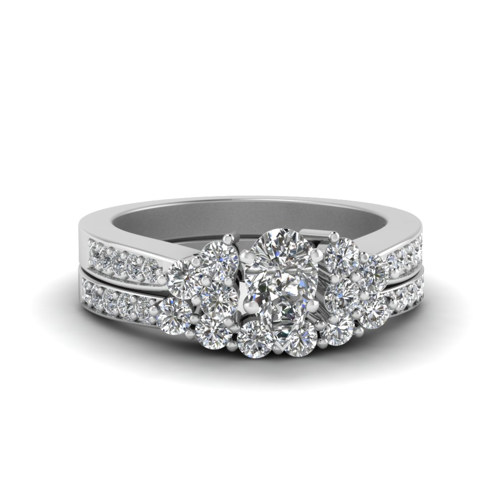White Gold Pear Shaped Wedding Sets