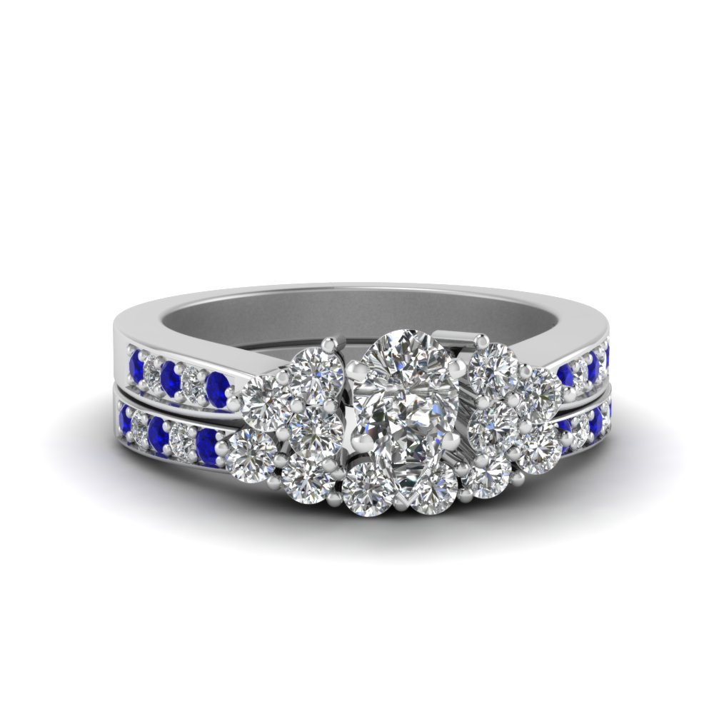 Pear Shaped Wedding Sets With Sapphire