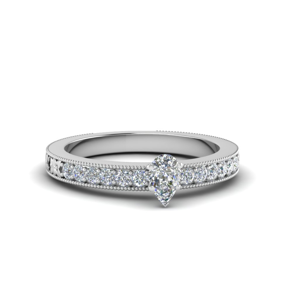 pear shaped pave diamond milgrain engagement ring in FDENS3516PER NL WG