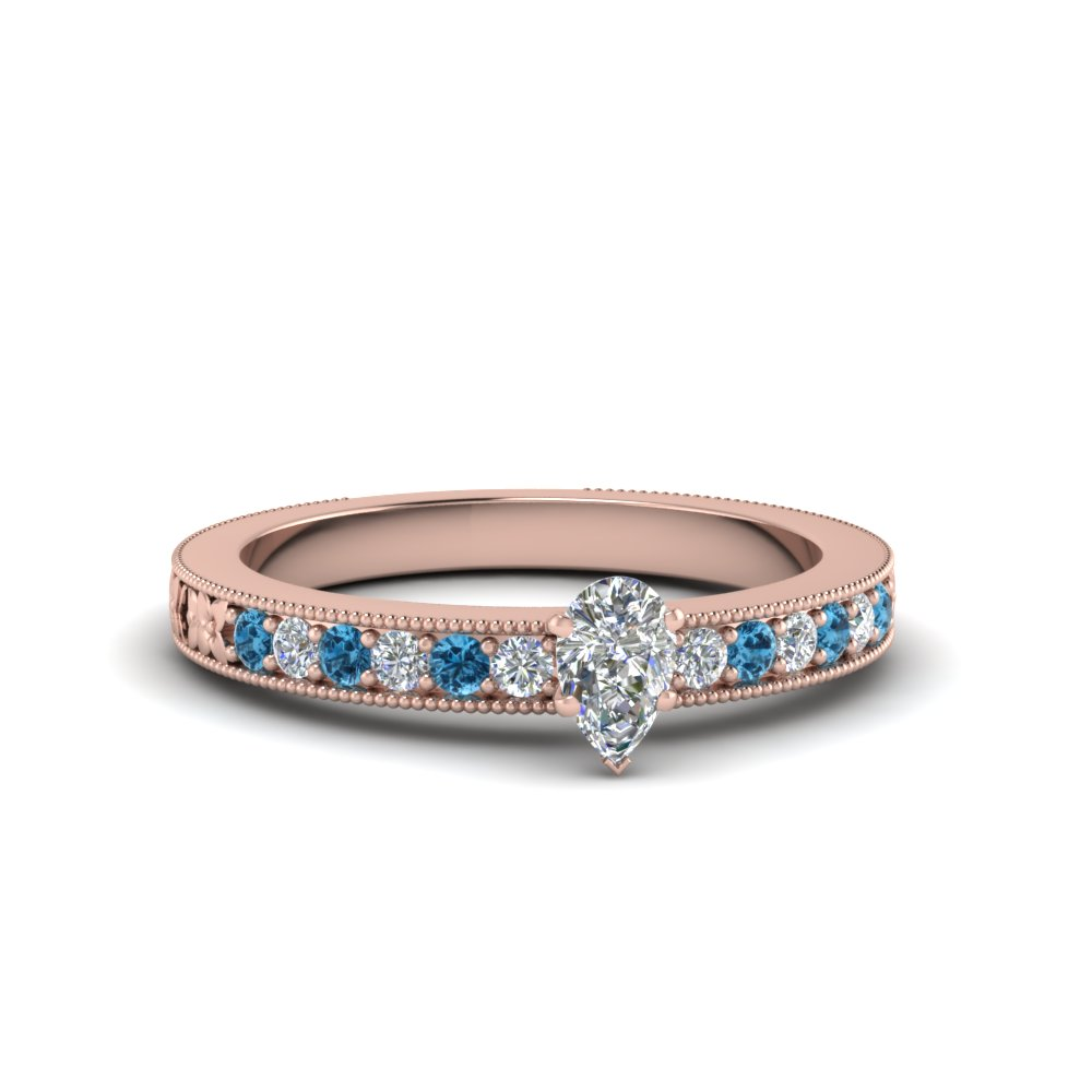 pear shaped pave diamond milgrain engagement ring with ice blue topaz in FDENS3516PERGICBLTO NL RG