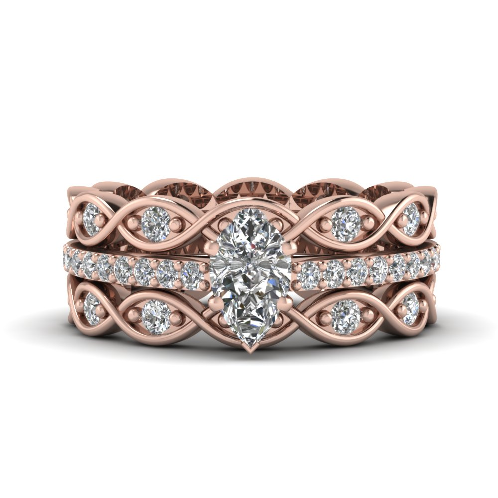 Pear Shaped Diamond Trio Wedding Ring Sets With White Diamond In 14k Rose  Gold