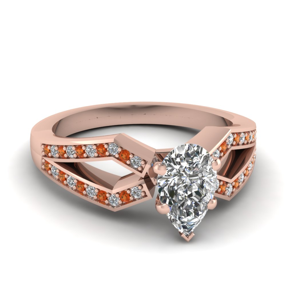 pave split shank pear diamond engagement ring with orange sapphire in FDENS3303PERGSAOR NL RG