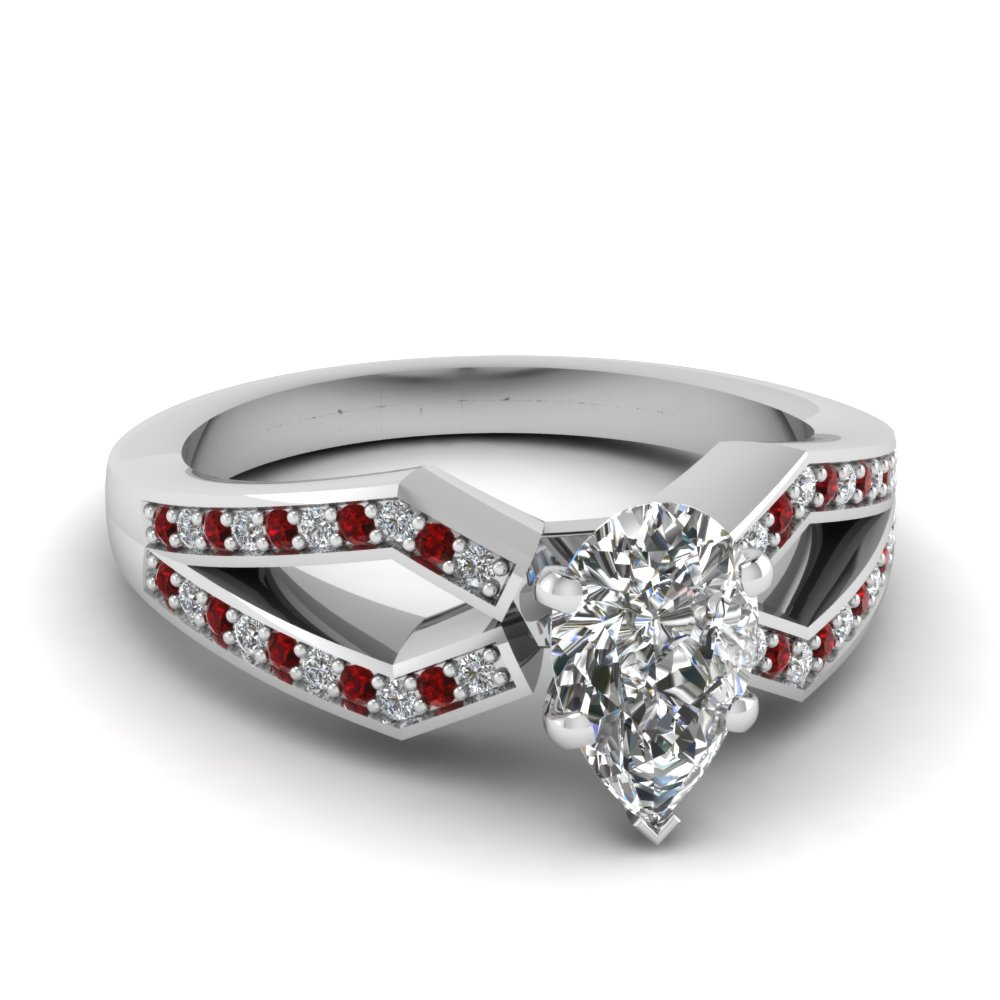 pave split shank pear diamond engagement ring with ruby in FDENS3303PERGRUDR NL WG