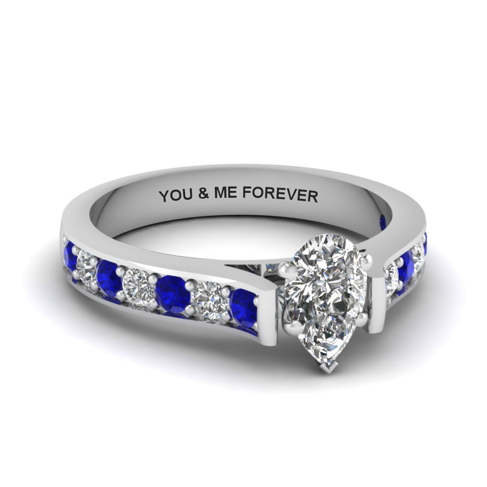 pear shaped personalized pave accent diamond engagement ring with sapphire in FDENS1102PERGSABL NL WG EG