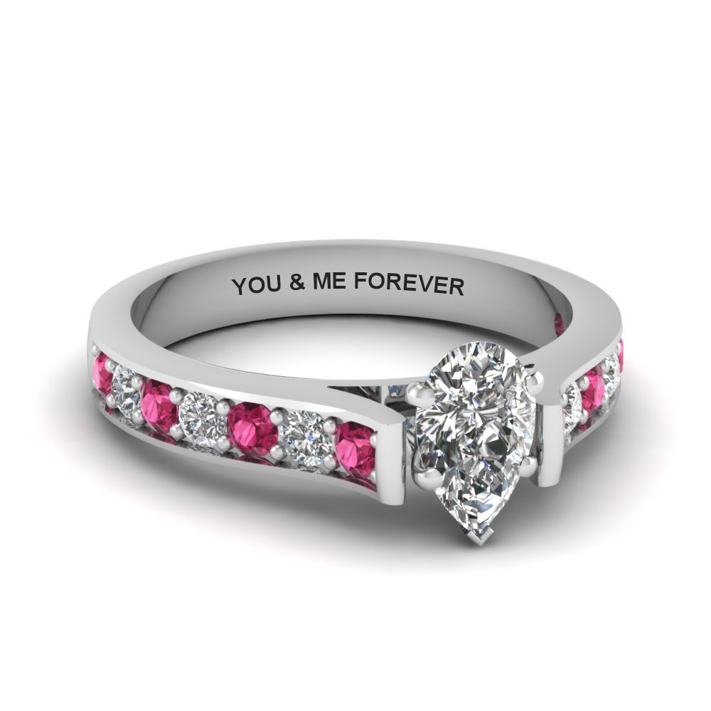 pear shaped personalized pave accent diamond engagement ring with pink sapphire in FDENS1102PERGSADRPI NL WG EG