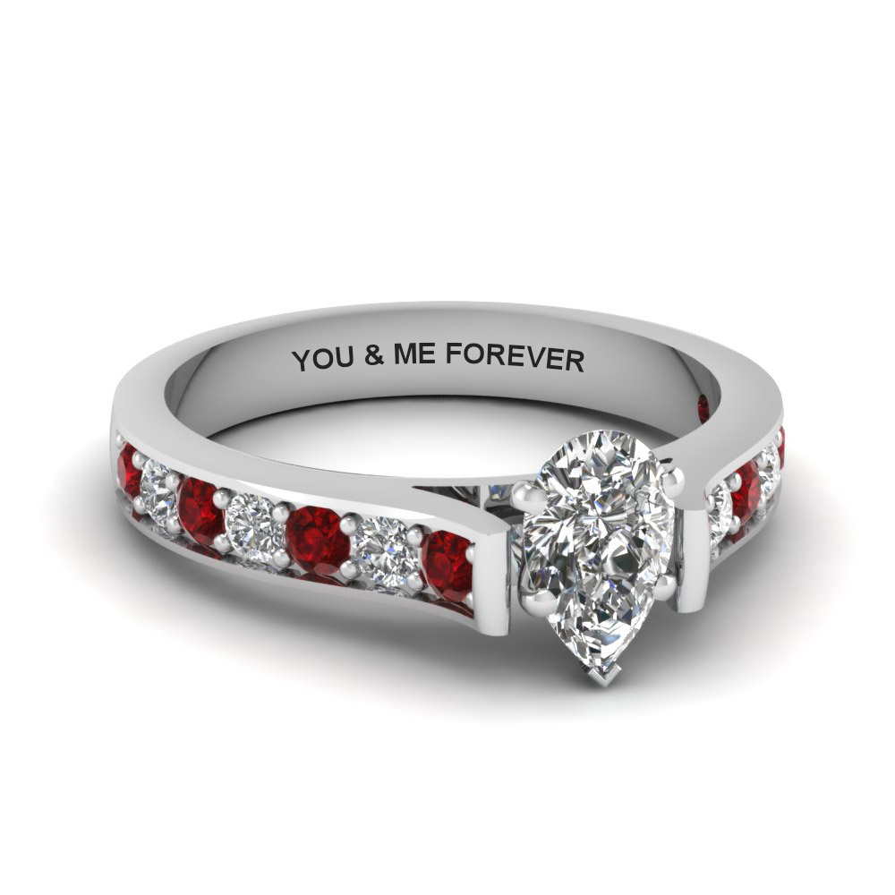 pear shaped personalized pave accent diamond engagement ring with ruby in FDENS1102PERGRUDR NL WG EG