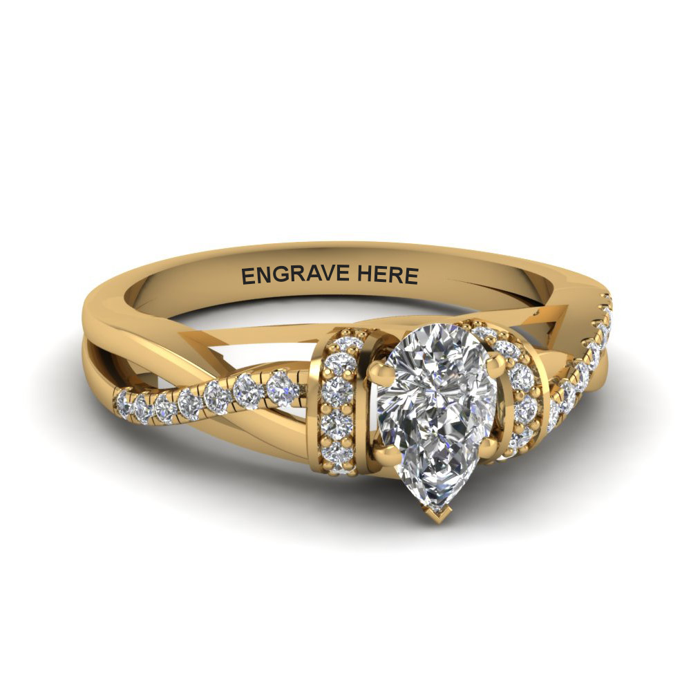Pave Set Yellow Gold Pear Diamond Ring