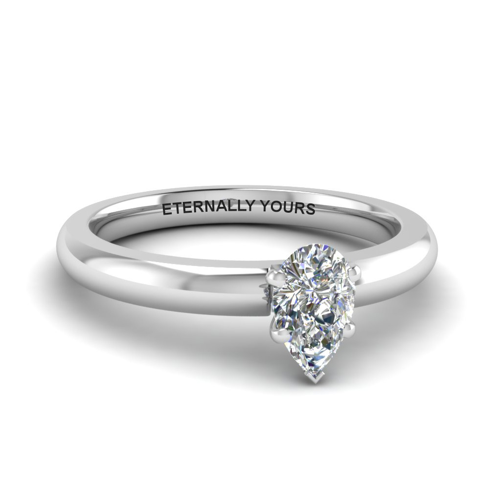 classic pear diamond solitaire engagement ring in FDENR8027PER NL WG EG