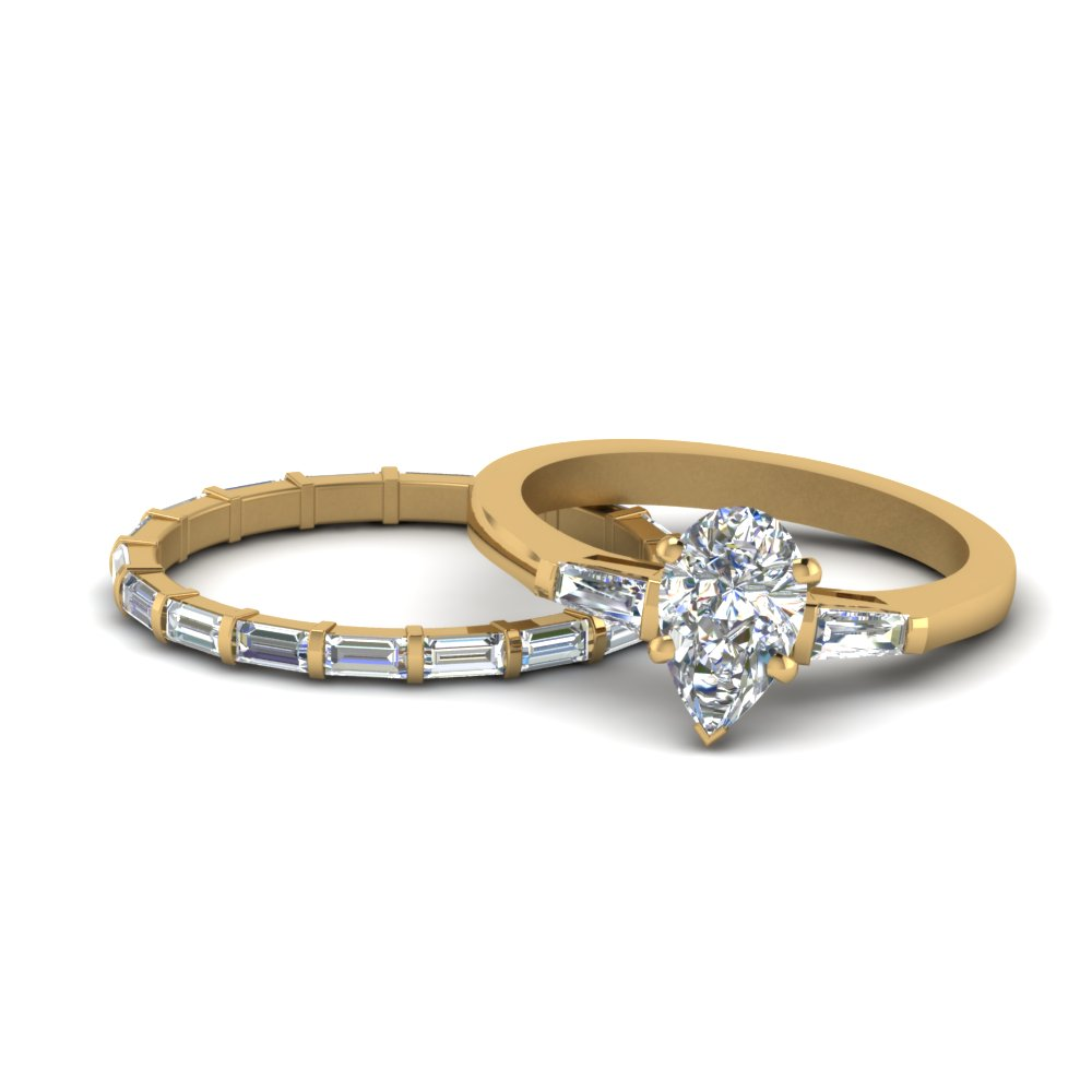 Pear Diamond Matching Ring & Band