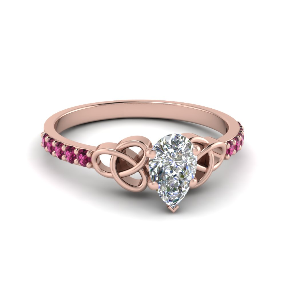 petite celtic pear shaped engagement ring with pink sapphire in FD8061PERGSADRPI NL RG