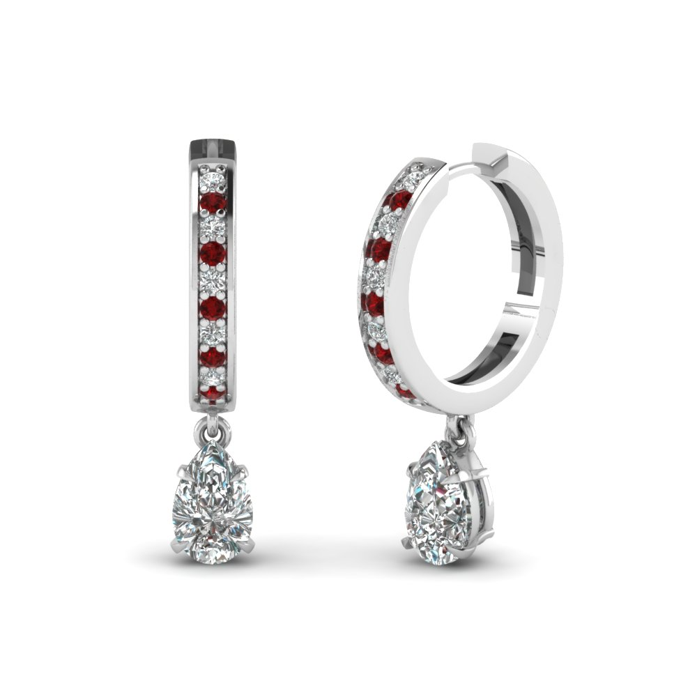 Pear Shaped Diamond Drop Hoop Earring With Ruby In Fdear1161pegrudr Nl Wg