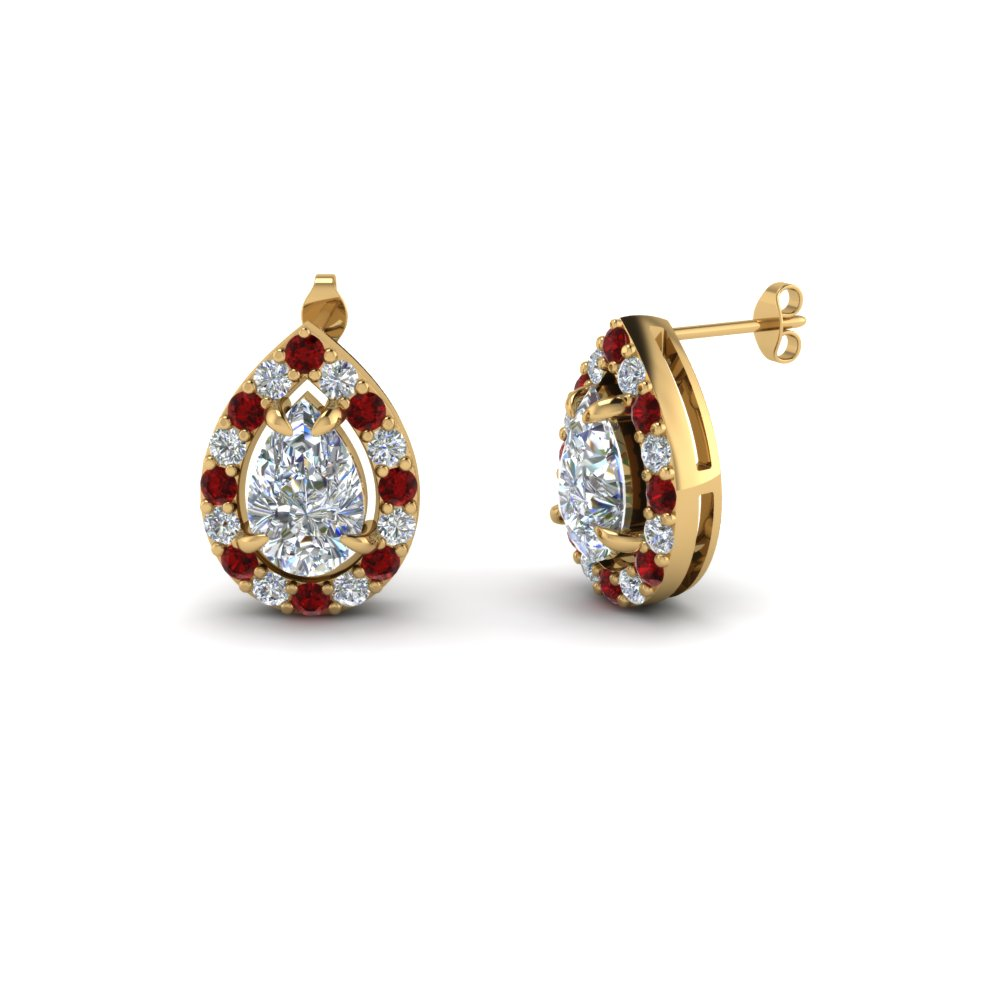 pear shaped diamond stud earrings with ruby in 14K yellow gold FDEAR1186PEGRUDR NL YG