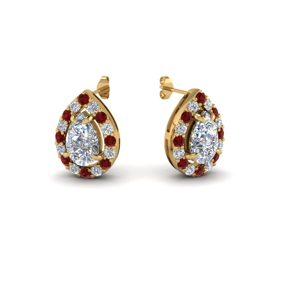 with studs earrings milano ruby diamond red golden jacket