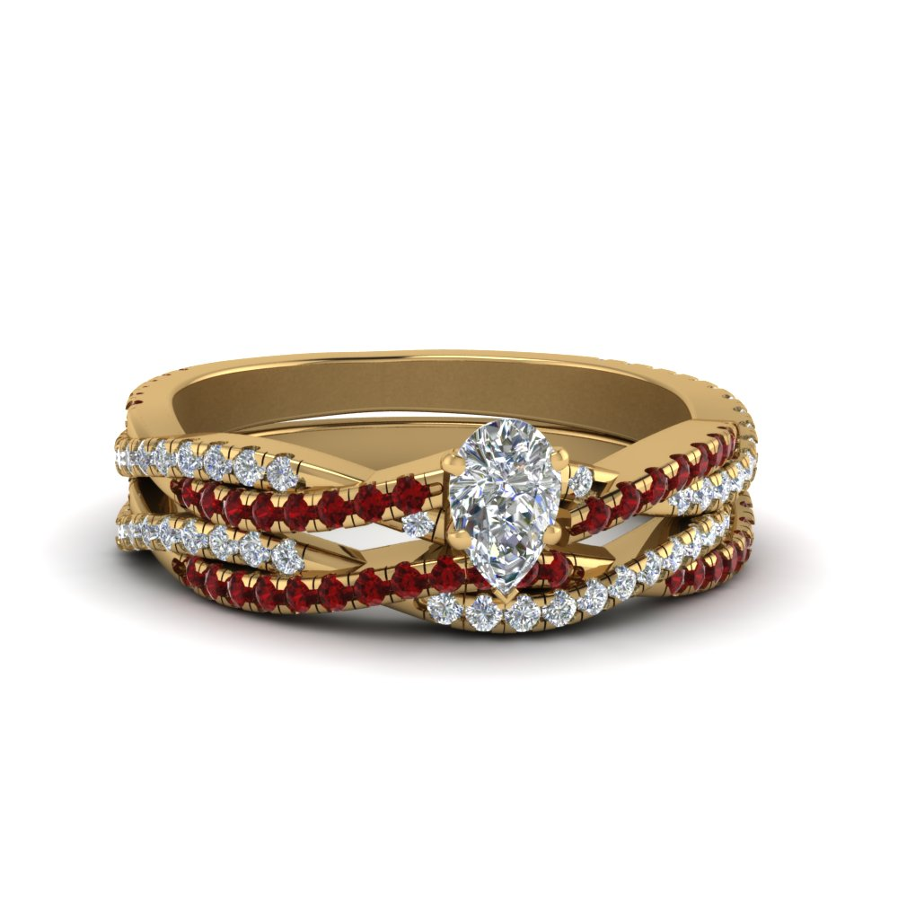pear shaped simple diamond twisted vine bridal ring set with ruby in 14K yellow gold FD8233PEGRUDR NL YG