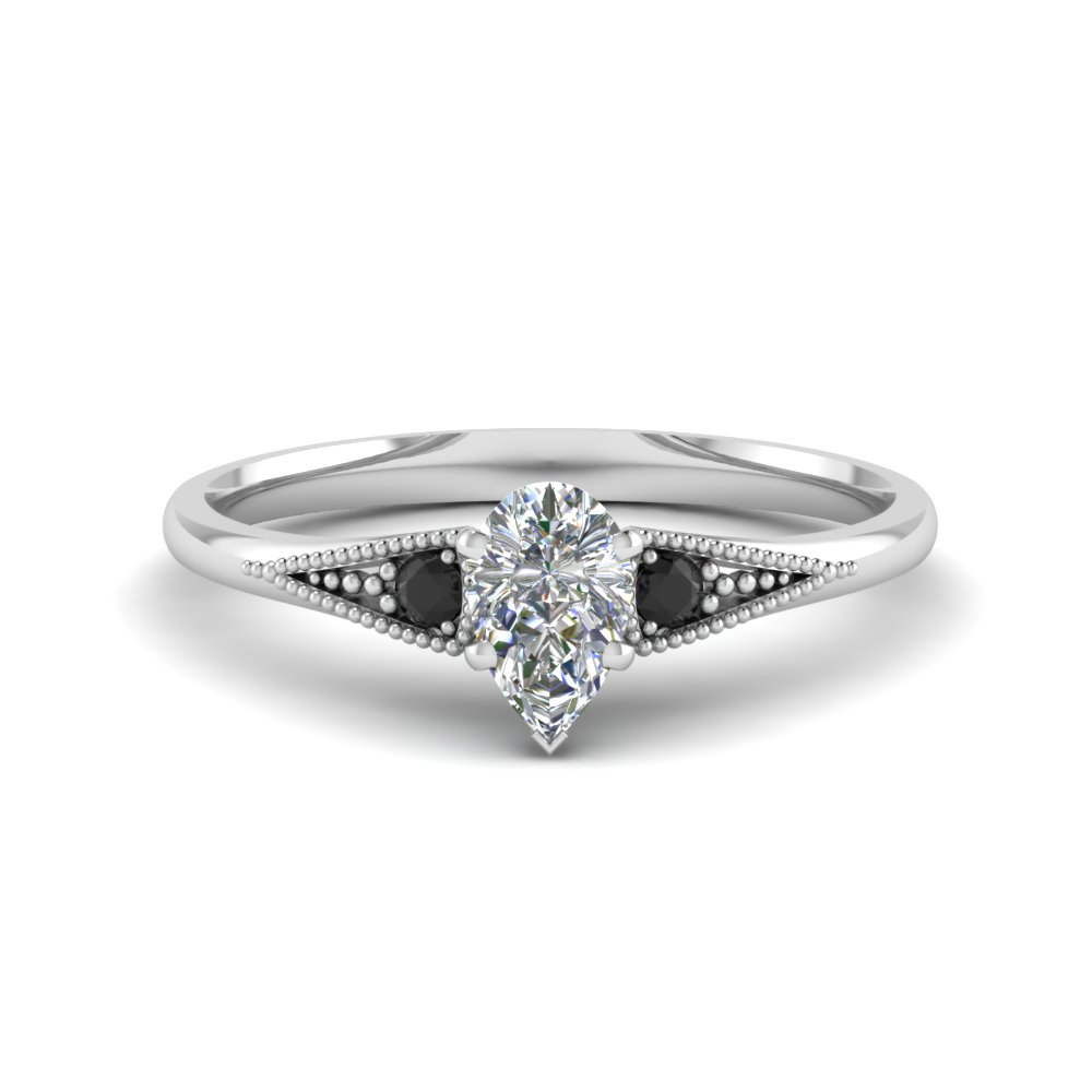 pear shaped small 3 stone milgrain engagement ring with. Black Bedroom Furniture Sets. Home Design Ideas