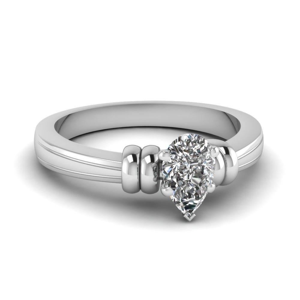 pear shaped solitaire diamond engagement ring in 14K white gold FDENR2526PER NL WG