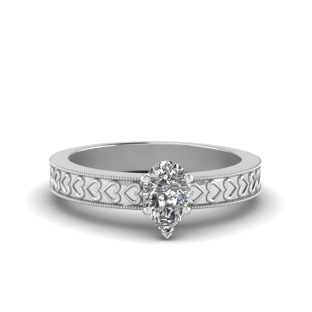 Pear Shaped Diamond Heart Design Ring