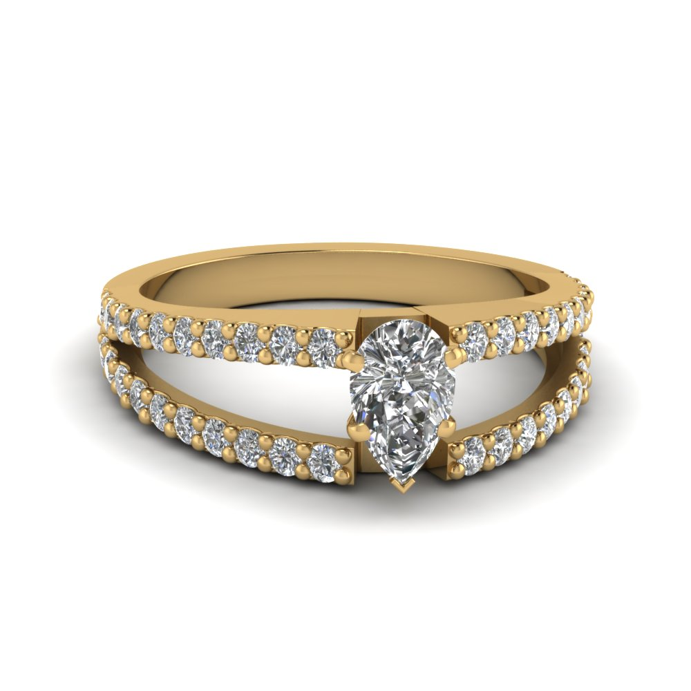 Certified Pear Diamond Double Shank Ring