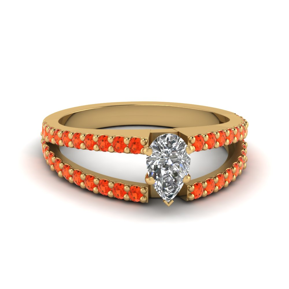 pear shaped split band gemstone with diamond engagement ring with poppy topaz in FDENR8335PERGPOTO NL YG GS