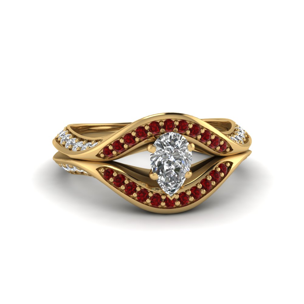 pear shaped split crossover halo diamond engagement ring with ruby in FDENS3165PERGRUDR NL YG