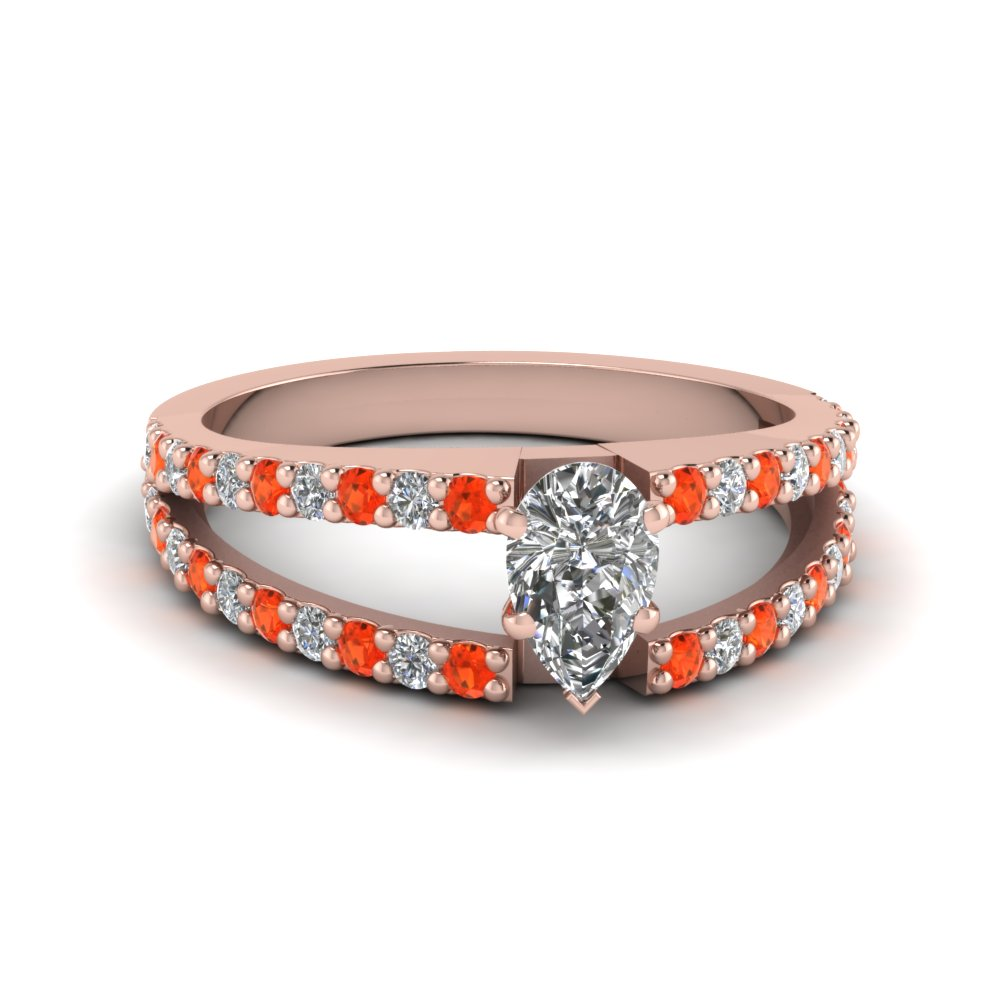 pear shaped split double band diamond engagement ring with poppy topaz in FDENR8335PERGPOTO NL RG