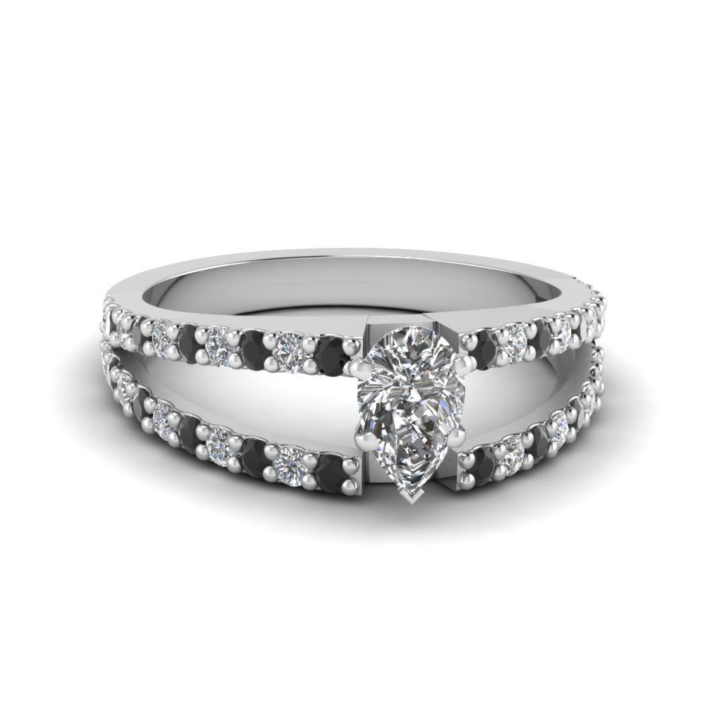 pear shaped split double band engagement ring with black diamond in FDENR8335PERGBLACK NL WG