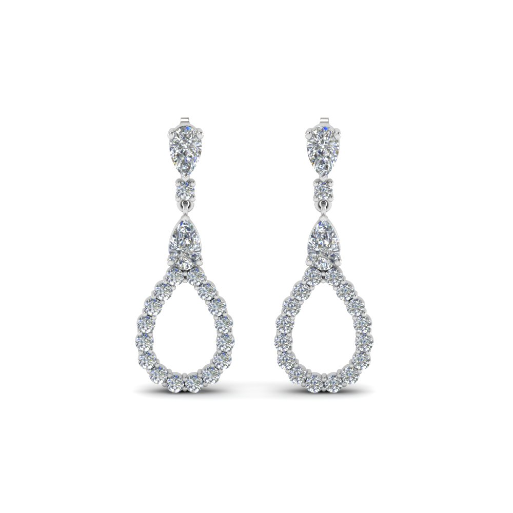1b6a751ed Pear Shaped Stud Drop Earring In Sterling Silver | Fascinating Diamonds