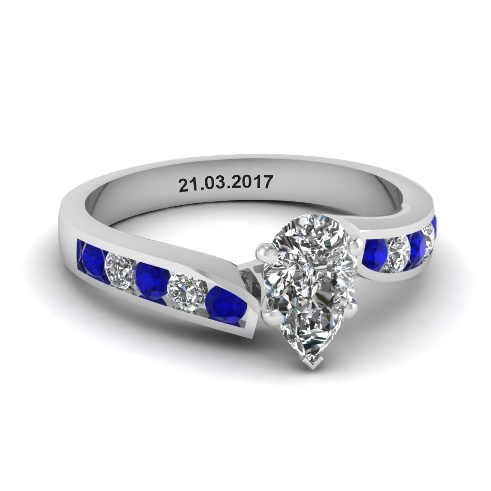 unique swirl pear diamond engagement ring with sapphire in FDENR1115PERGSABL NL WG EG