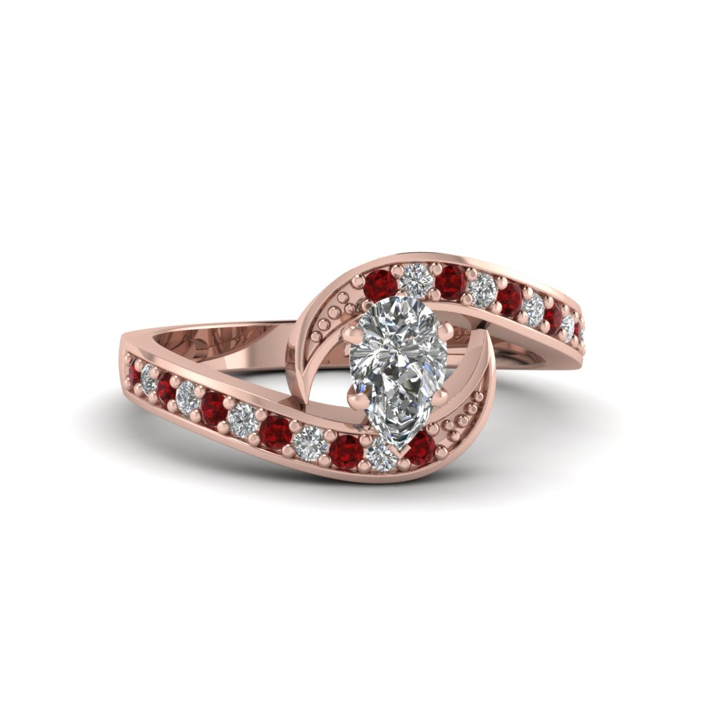 pear shaped swirl pave diamond engagement ring with ruby in FDENS3006PERGRUDR NL RG