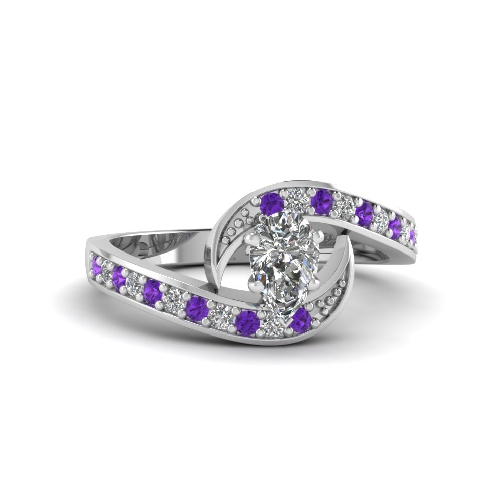 pear shaped swirl pave moissanite engagement ring with purple topaz in FDENS3006PERGVITO NL WG