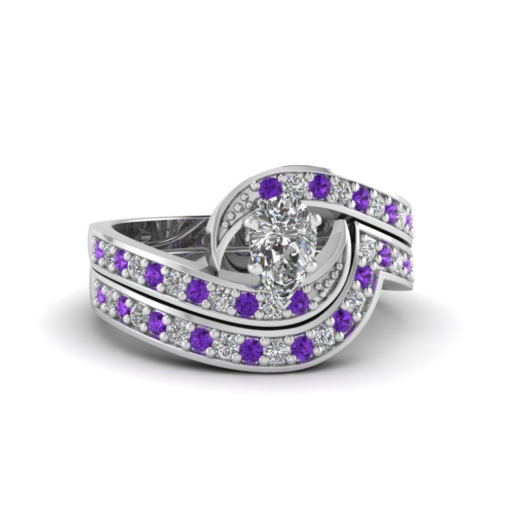 pear shaped swirl pave moissanite wedding ring set with purple topaz in FDENS3006PEGVITO NL WG