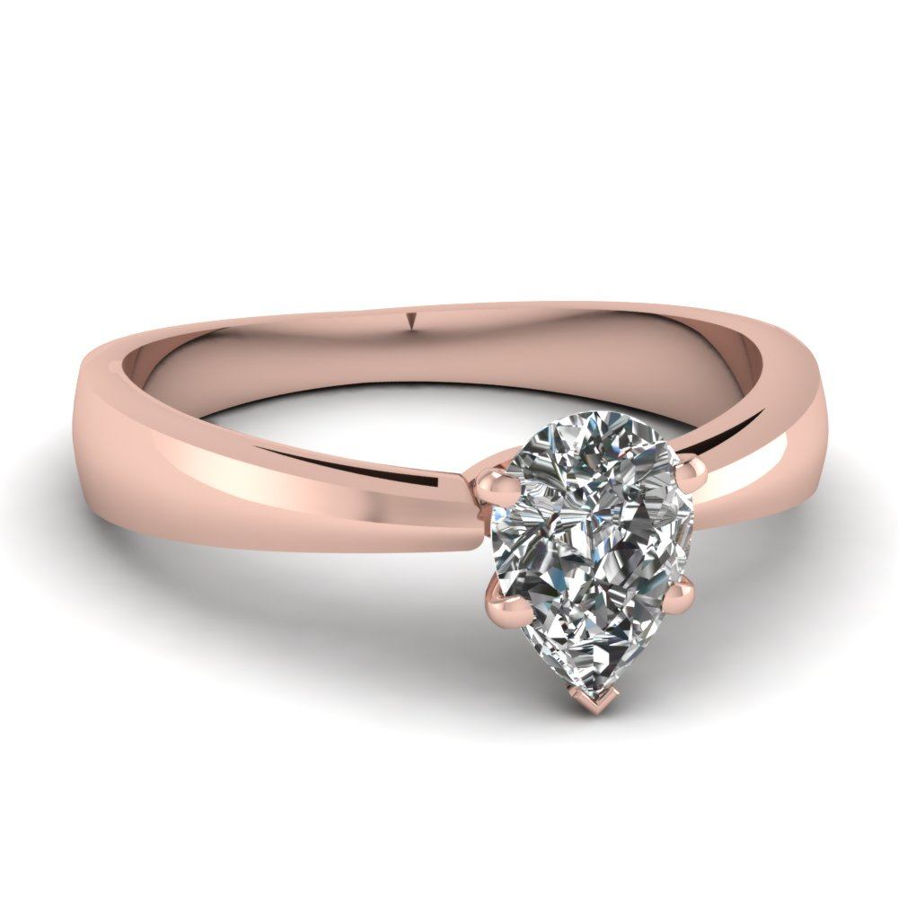 pear shaped tapered solitaire engagement ring in 14k rose. Black Bedroom Furniture Sets. Home Design Ideas