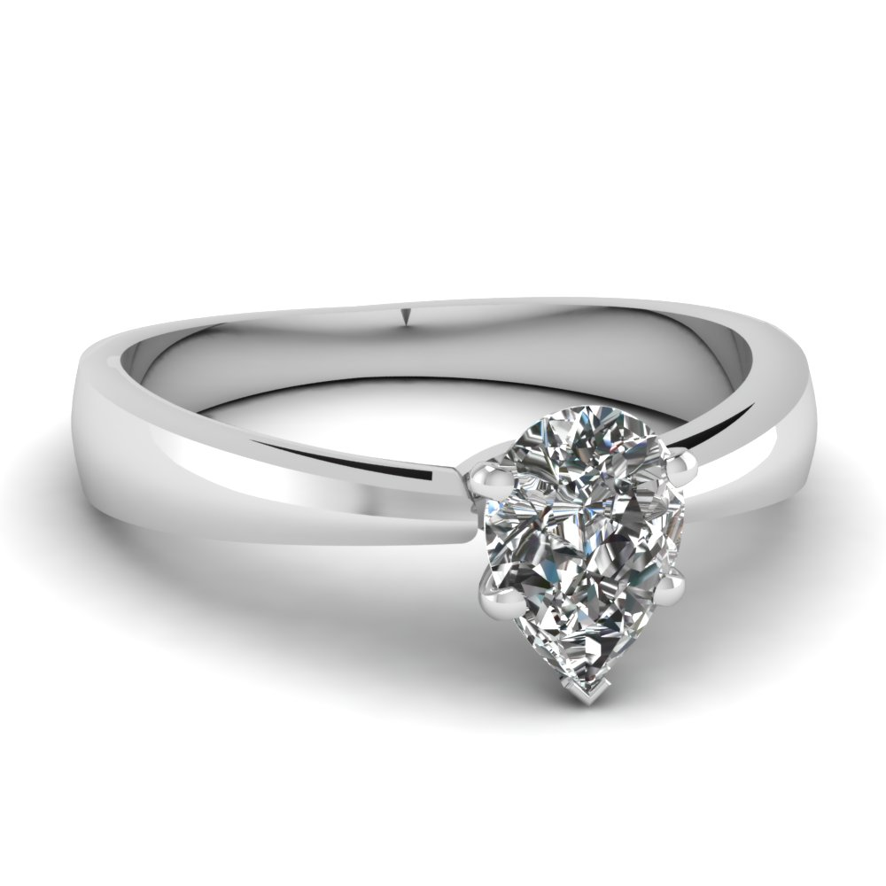 White Gold Pear Diamond Solitaire Rings