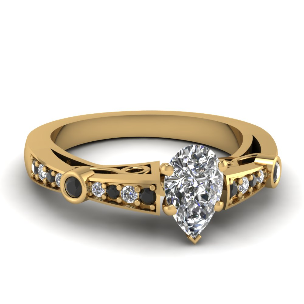 pear shaped tapered vintage engagement ring with black diamond in FDENR3142PERGBLACK NL YG.jpg