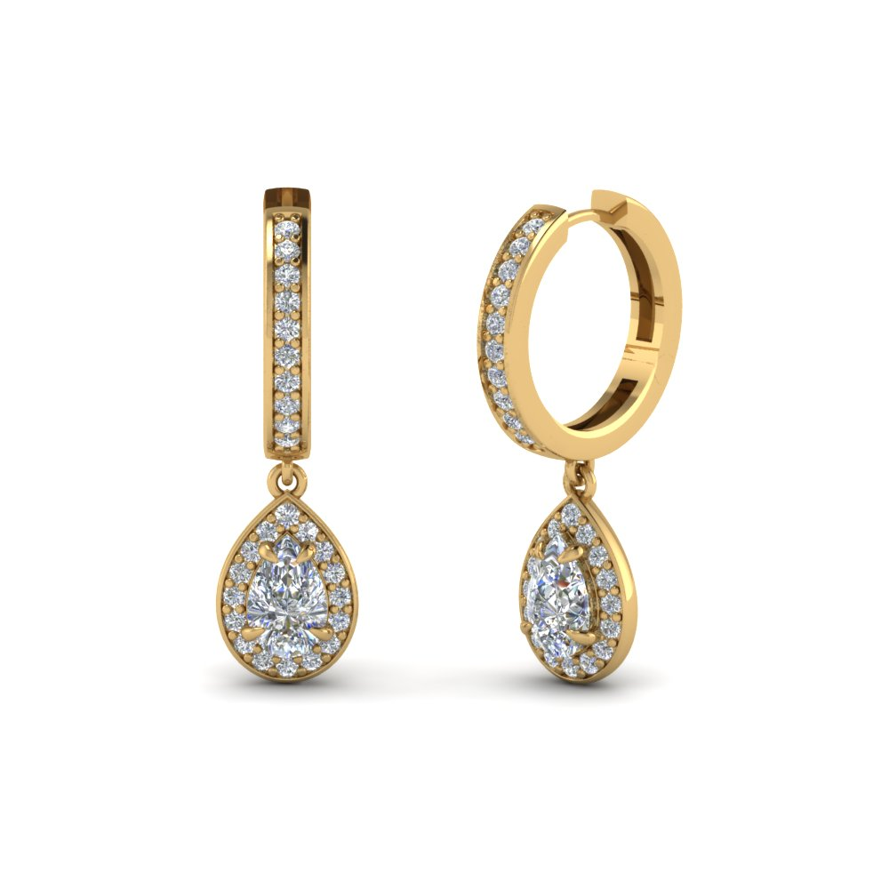 Pear Shaped Teardrop Halo Diamond Hoop Gold Earring In 14K Yellow ...