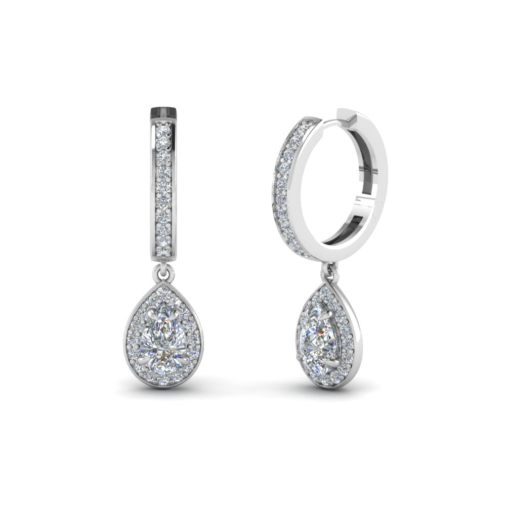 Pear Shaped Halo Platinum Drops