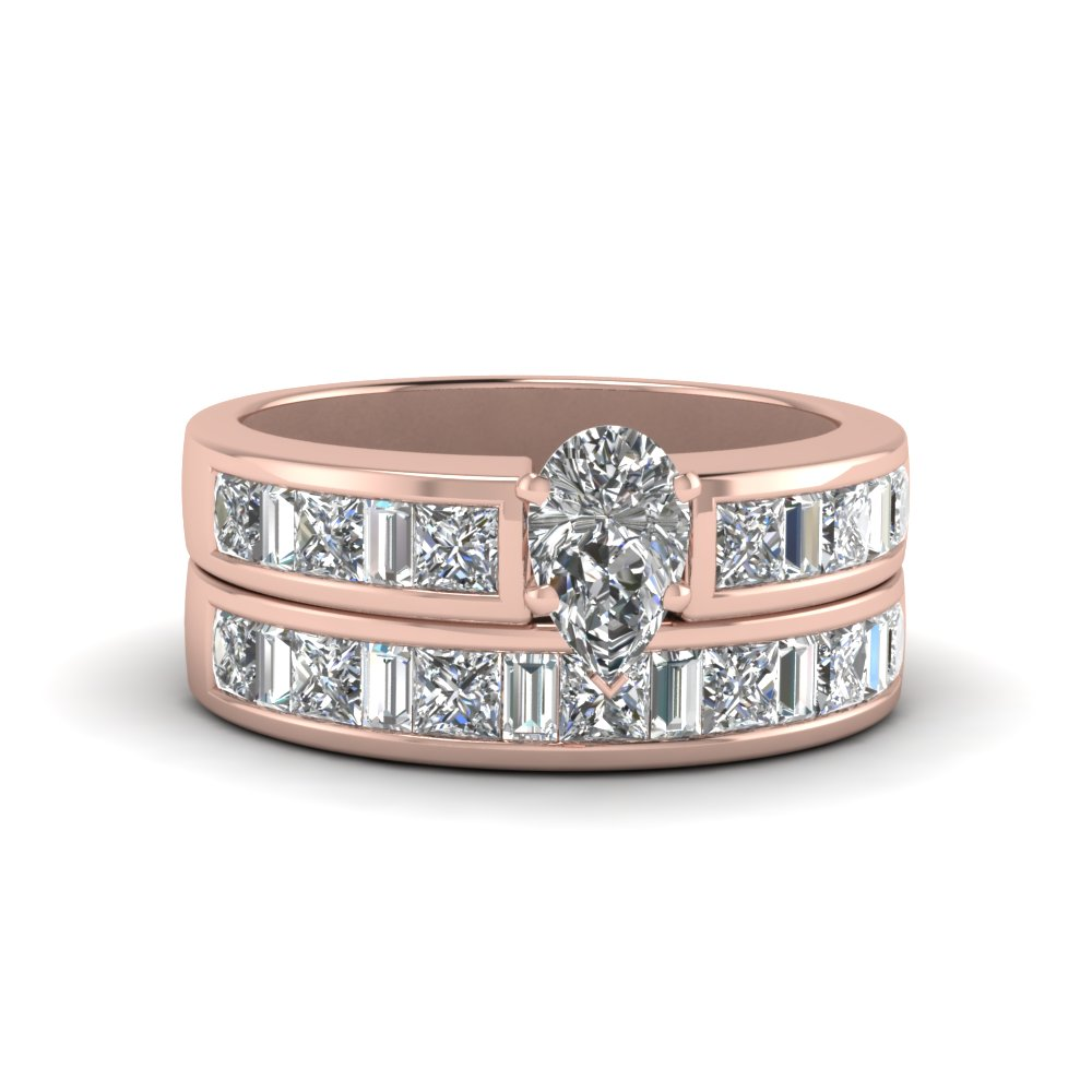 Pear Shaped Thick Band Diamond And Baguette Wedding Set In 14K Rose ...