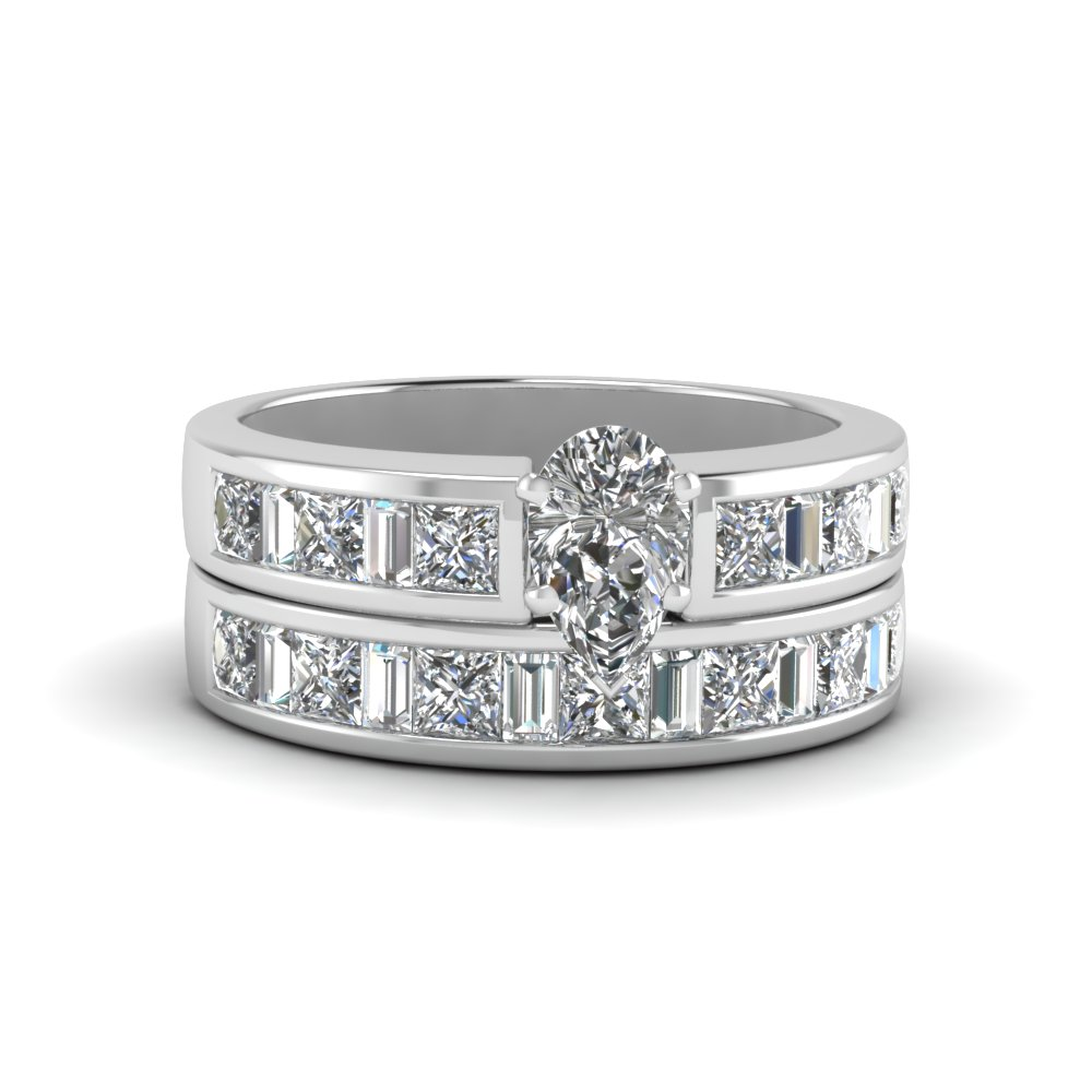 Pear Shaped Thick Band Diamond And Baguette Wedding Set In 950 ...