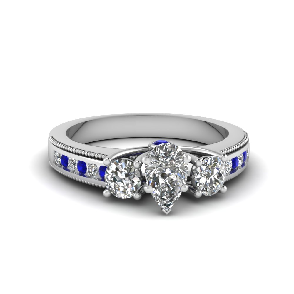 31bba6d536f58 3 Stone Floating Milgrain Diamond Ring