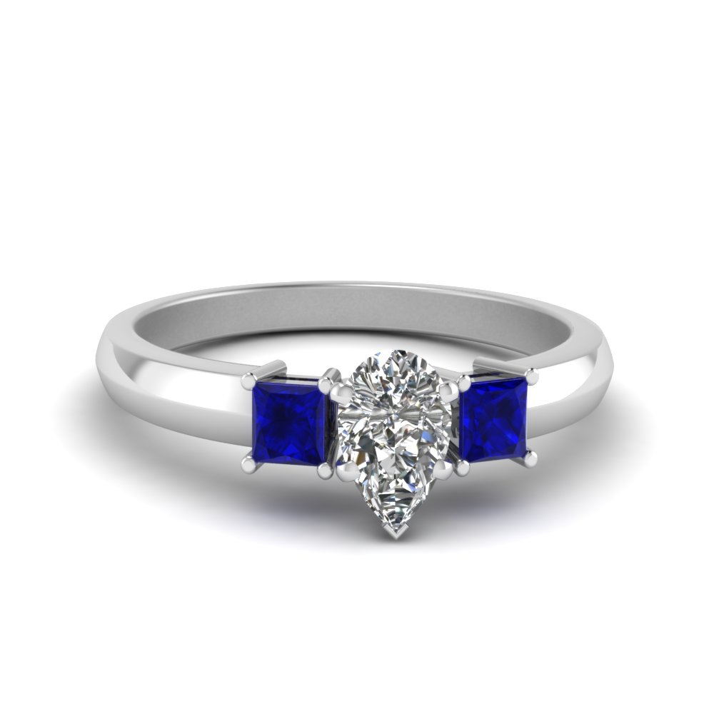 pear shaped glossy basket diamond engagement ring 3 stone with sapphire in FDENR264PERGSABL NL WG