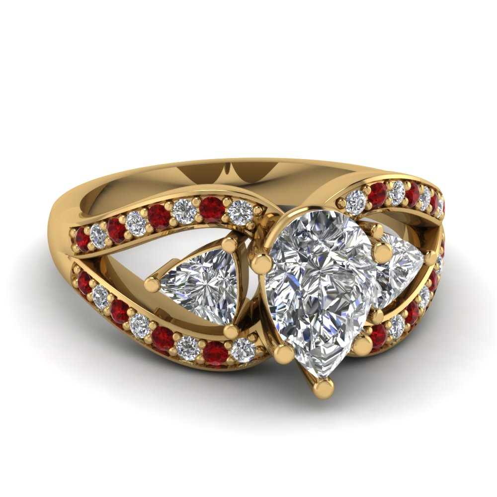 pear shaped trillion antique 3 stone engagement ring with ruby in FD71589PERGRUDR NL YG