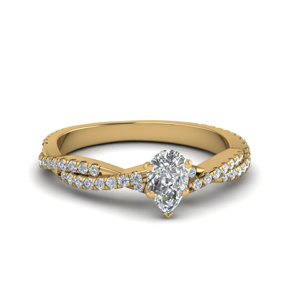pear shaped twisted vine diamond engagement ring for women in 14K yellow gold FD8233PER NL YG