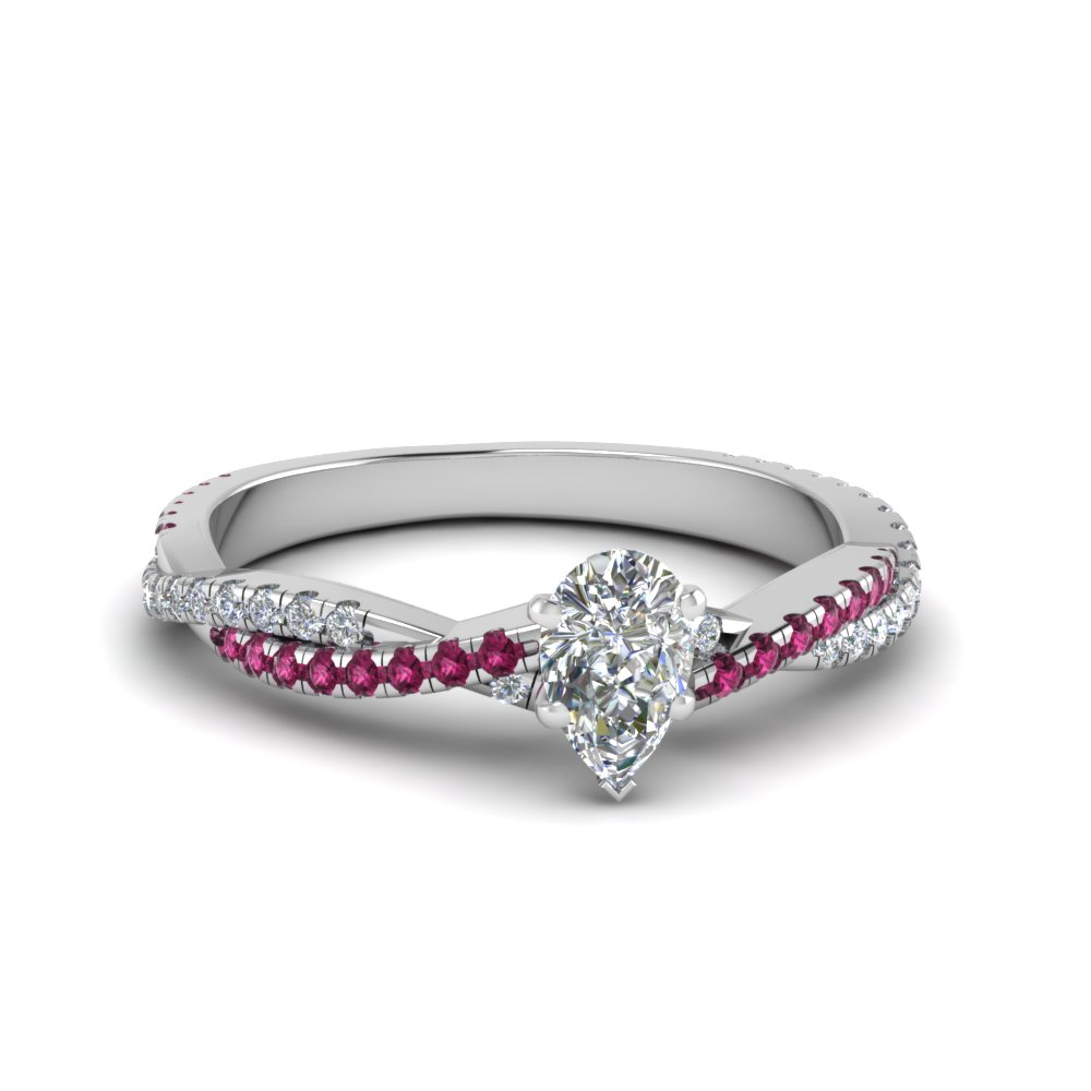 pear shaped twisted vine diamond engagement ring for women with pink sapphire in 14K white gold FD8233PERGSADRPI NL WG
